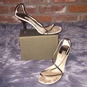 Calvin Klein neutral bronze straps heels